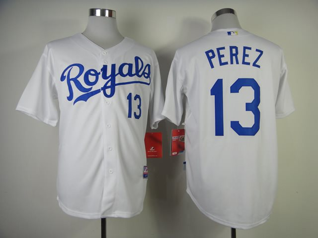Kansas City Royals 13 Perez white jerseys