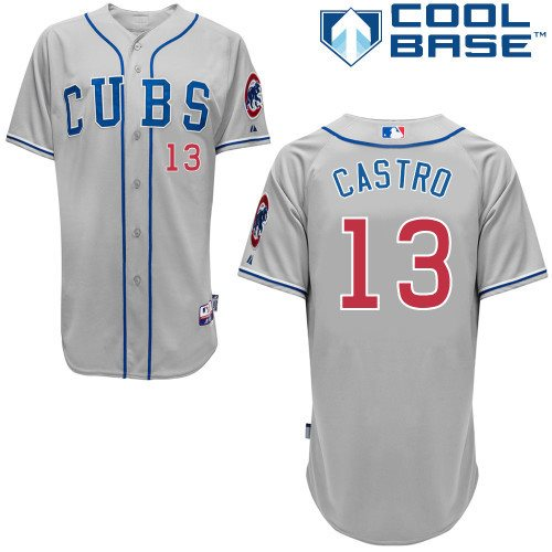 MLB Chicago Cubs 13 Castro 2014 grey cool base jerseys