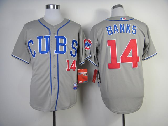 MLB Chicago Cubs 14 Banks 2014 grey jerseys