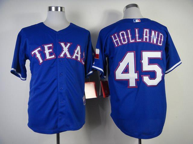 MLB Jerseys Texas Rangers 45 Holland 2014 new Blue Jerseys