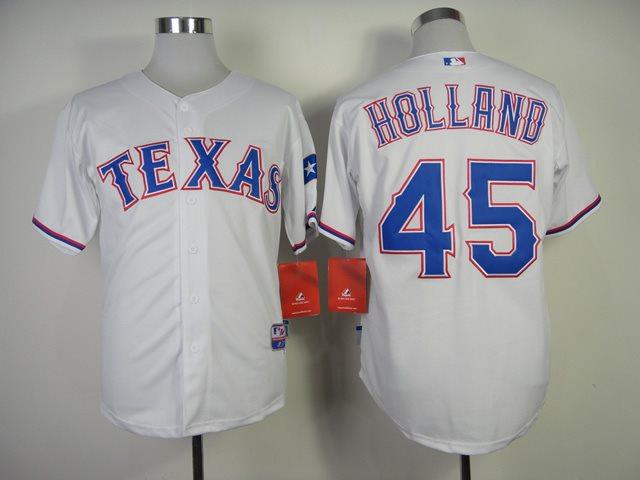 MLB Jerseys Texas Rangers 45 Holland 2014 new white Jerseys