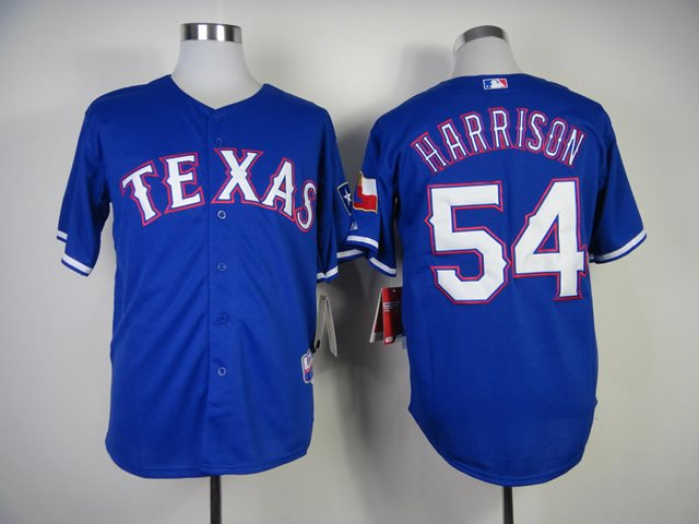 MLB Jerseys Texas Rangers 54 Harrison 2014 new Blue Jerseys