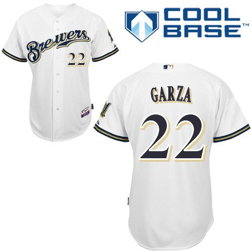 MLB Milwaukee Brewers 22 Garza White cool base Jerseys