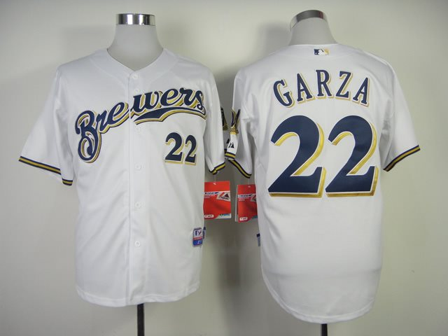 MLB Milwaukee Brewers 22 Garza White Jerseys