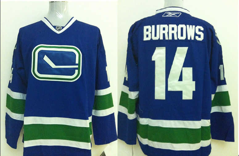 NHL Vancouver Canucks 14 Alexandre Burrows Blue Jersey