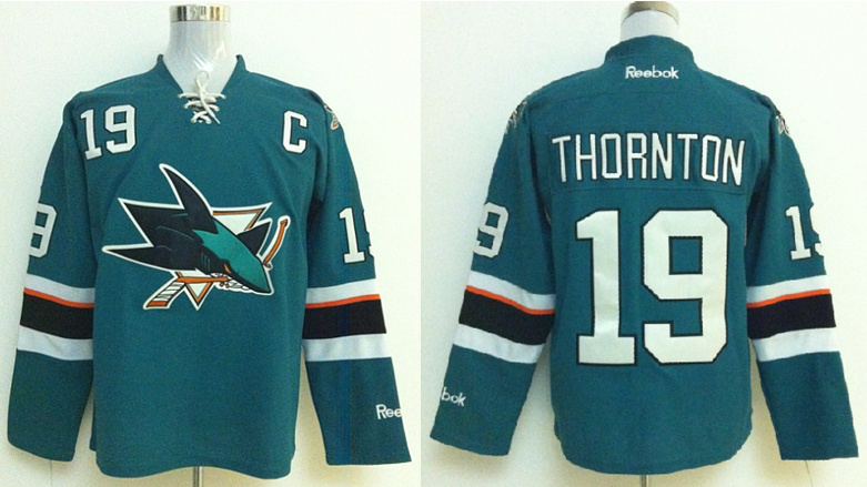 NHL San Jose Sharks 19 Thornton Green Jerseys