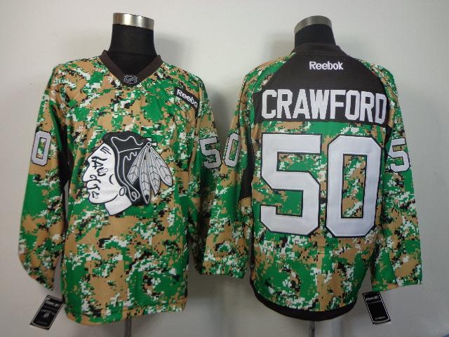 NHL Chicago Blackhawks 50 Crawford camo jerseys