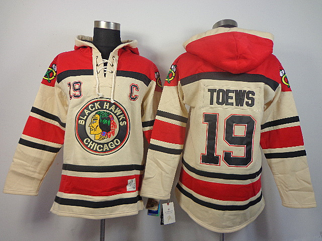 NHL Chicago Blackhawks 19 Toews milk white Sawyer Lace Up Pullover Hooded Sweatshirt