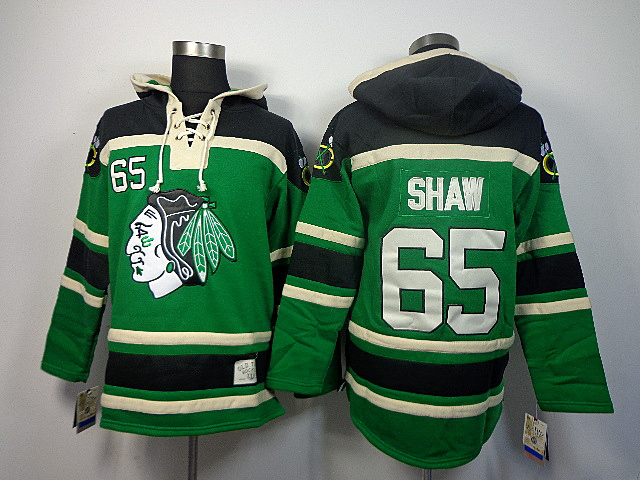 NHL Chicago Blackhawks 65 Shaw Sawyer green Lace Up Pullover Hooded Sweatshirt