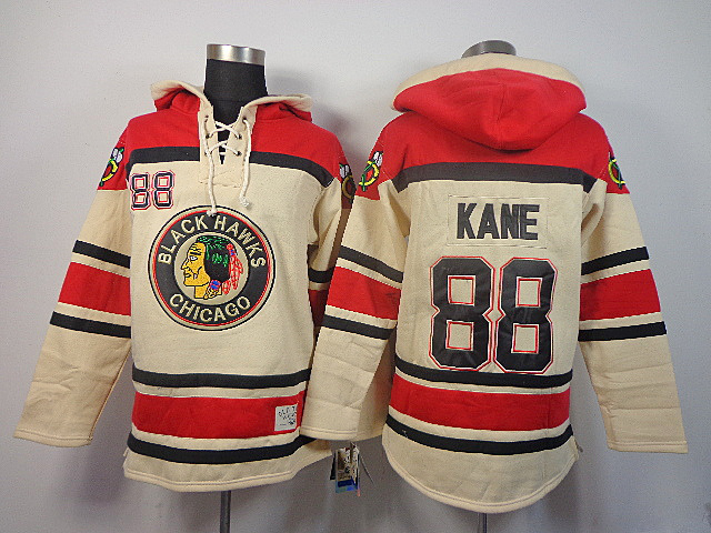 NHL Chicago Blackhawks 88 Kane milk white Sawyer Lace Up Pullover Hooded Sweatshirt