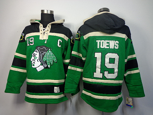 NHL Chicago Blackhawks 19 Toews green Sawyer Lace Up Pullover Hooded Sweatshirt