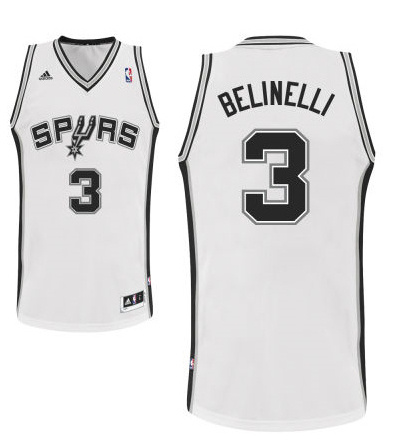 Adidas San Antonio Spurs 3 Marco Belinelli New Revolution 30 Swingman Home White Jersey