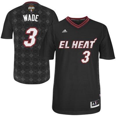 Adidas NBA Miami Heat 3 Dwyane Wade 2014 Noches Enebea Swingman Black Jersey