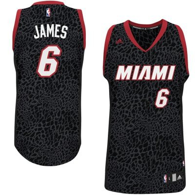 Adidas NBA Miami Heat 6 LeBron James Crazy Light Swingman Black Jersey