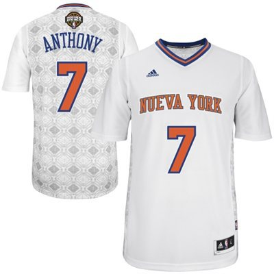 Adidas NBA New York Knicks 7 Carmelo Anthony 2014 Noches Enebea Swingman White Jersey