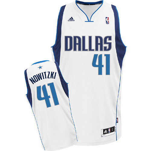Adidas NBA Dallas Mavericks 41 Dirk Nowitzki New Revolution 30 Swingman white Jersey