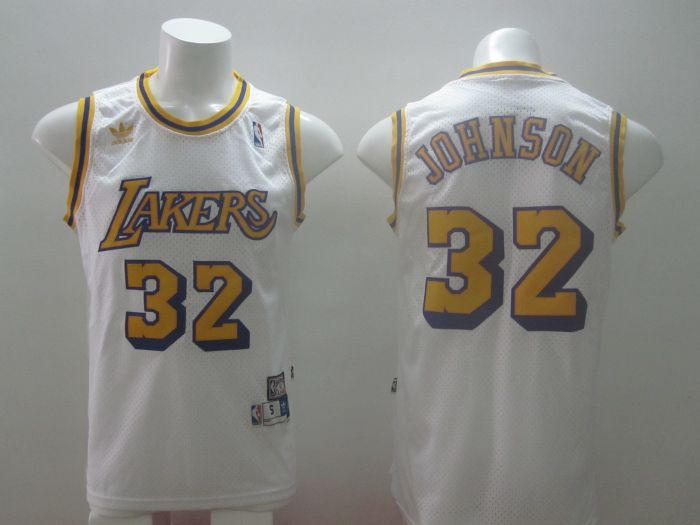 2014 adidas Los Angeles Lakers 32 Magic Johnson Hardwood Classics Swingman white Jersey