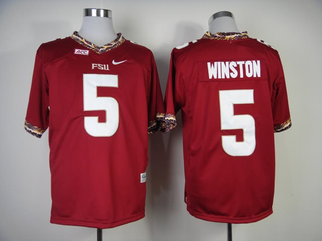 NCAA Florida State Seminoles (FSU) 5 Jameis Winston red College Football Jerseys