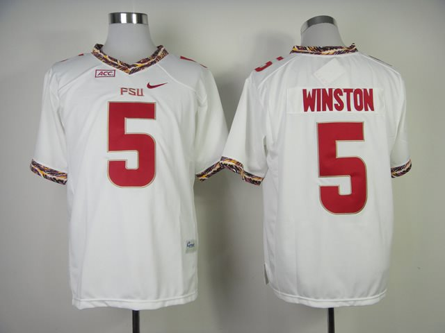 NCAA Florida State Seminoles (FSU) 5 Jameis Winston white College Football Jerseys