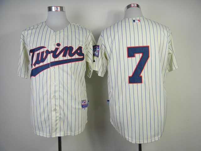 2014 NEW MLB Minnesota Twins 7 Joe Mauer Cream Jersey