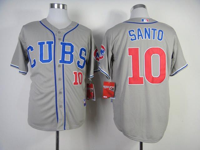 2014 New MLB Chicago Cubs 10 SANTO Grey M&N jerseys