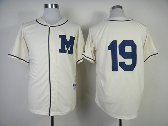 2014 NEW MLB Milwaukee Brewers 19 Robin Yount cream jerseys