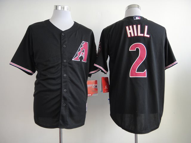 2014 NEW MLB Arizona Diamondbacks 2 Hill Black Jerseys