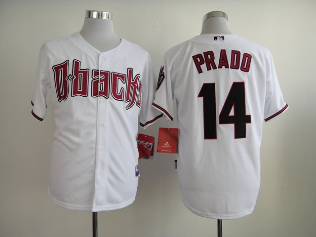 2014 NEW MLB Arizona Diamondbacks 14 PRADO White Jersey