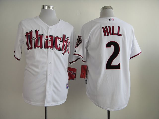 2014 NEW MLB Arizona Diamondbacks 2 Hill white Jerseys