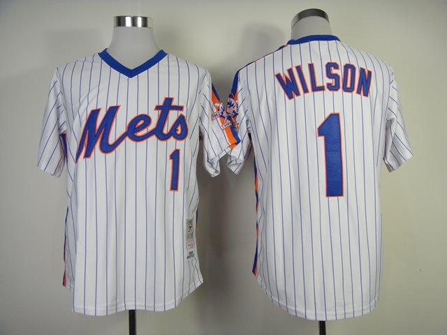 2014 NEW MLB New York Mets 1 Wilson white 1986 throwback jerseys
