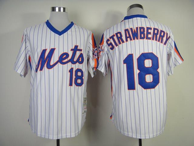 2014 NEW MLB New York Mets 18 Strawberry white 1986 throwback jerseysv