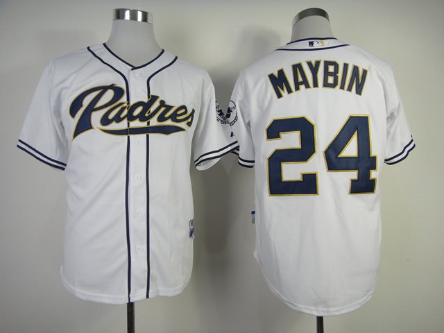 2014 NEW MLB San Diego Padres 24 Maybin white Jerseys