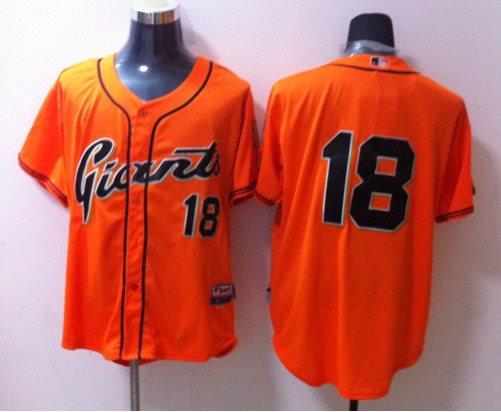 2014 NEW MLB San Francisco Giants 18 Orange Jersey