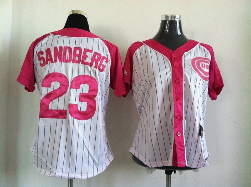 2014 NEW MLB Chicago Cubs women 23 SANDBERG pink-white jerseys