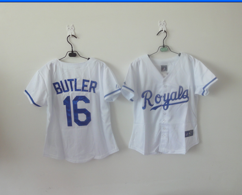 2014 NEW MLB Kansas City Royals women 16 Butler white jerseys