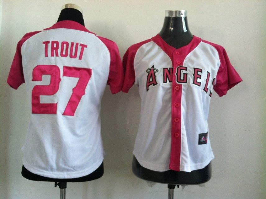 2014 NEW MLB Los Angeles Angels women 27 Trout white jerseys