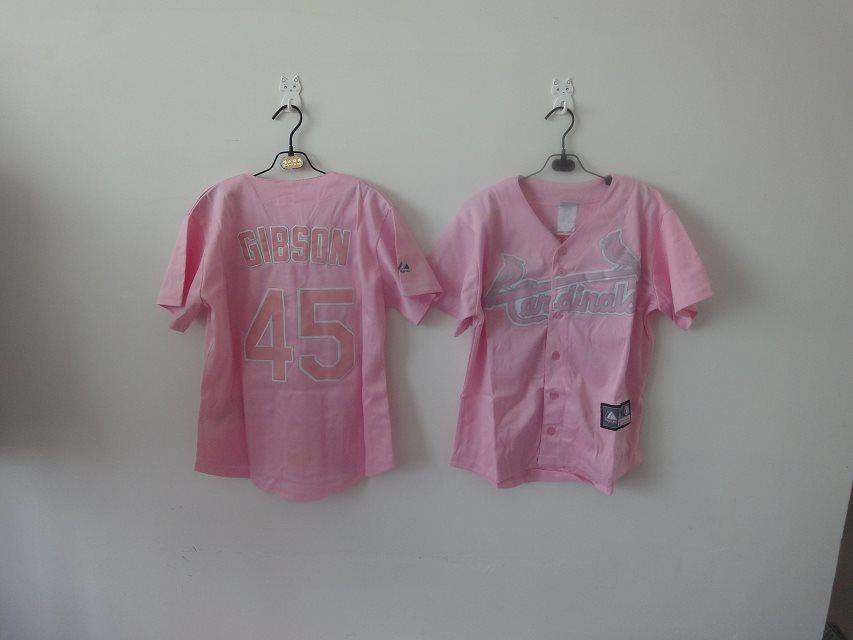 2014 NEW MLB St. Louis Cardinals women 45 Gibson Pink jerseys