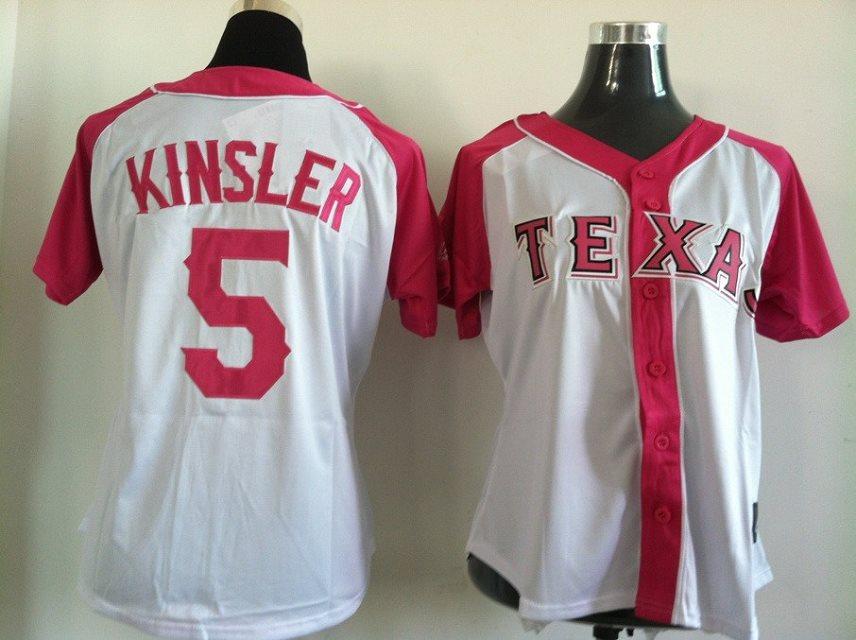 2014 NEW MLB Texas Rangers women 5 Kinsler pink white jerseys
