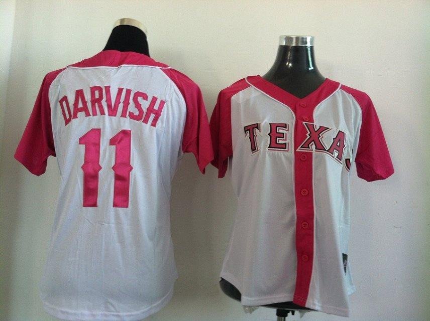 2014 NEW MLB Texas Rangers women 11 Darvish Pink white jerseys