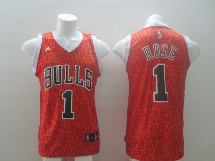 Chicago Bulls 1 Derrick Rose Red Leopard Print Fashion Jersey