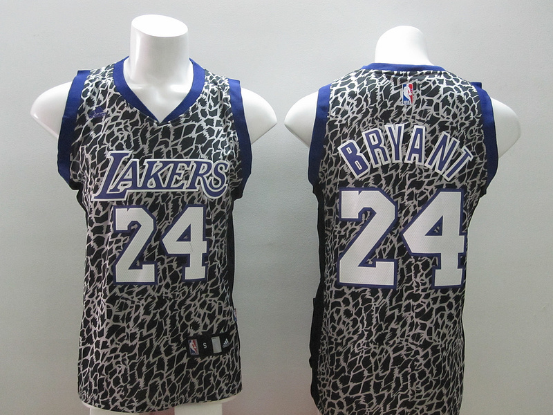 Los Angeles Lakers 24 Kobe Bryant Black Leopard Print Fashion Jersey