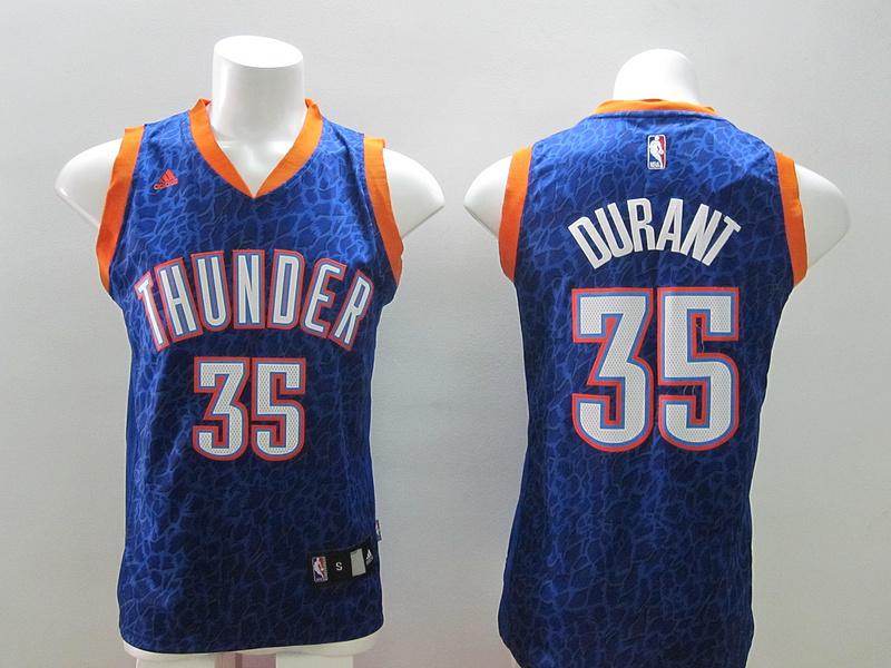 Oklahoma City Thunder 35 Kevin Durant Blue Leopard Print Fashion Jersey