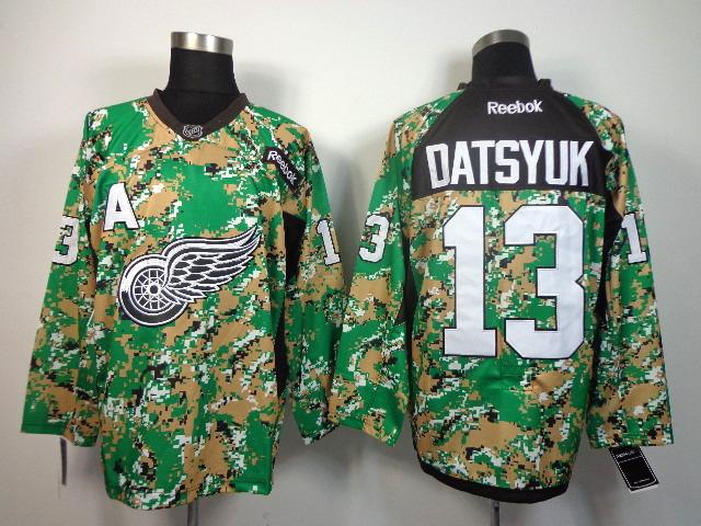 Detroit Red Wings 13 DATSYUK green camo jerseys