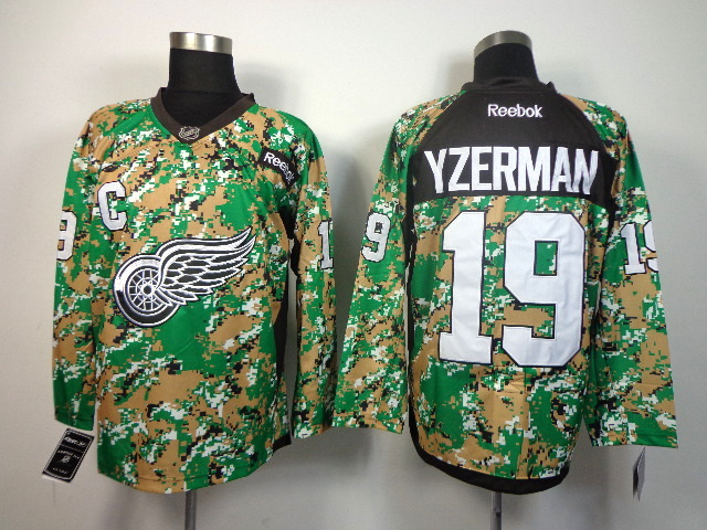 Detroit Red Wings 19 Yaerman green camo jerseys