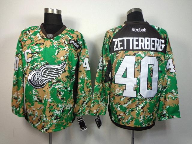 Detroit Red Wings 40 Zetterberg Howe green camo jerseys