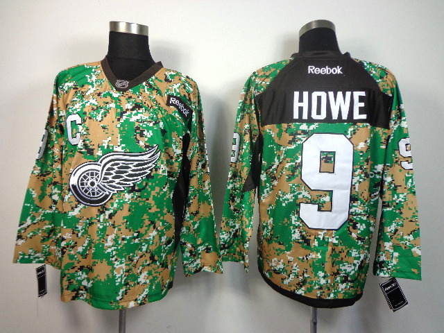 Detroit Red Wings #9 Gordie Howe green camo jerseys