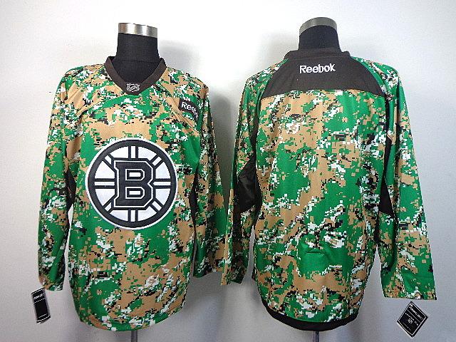 Men's Boston Bruins Blank Green Camo Jersey