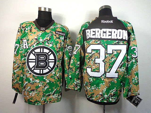 Men's Boston Bruins Patrice Bergeron #37 Green Camo Jersey