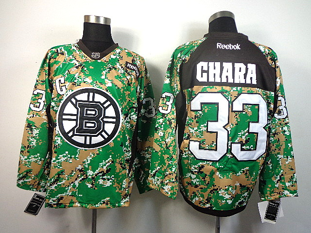 Men's Boston Bruins Zdeno Chara #33 Green Camo Jersey