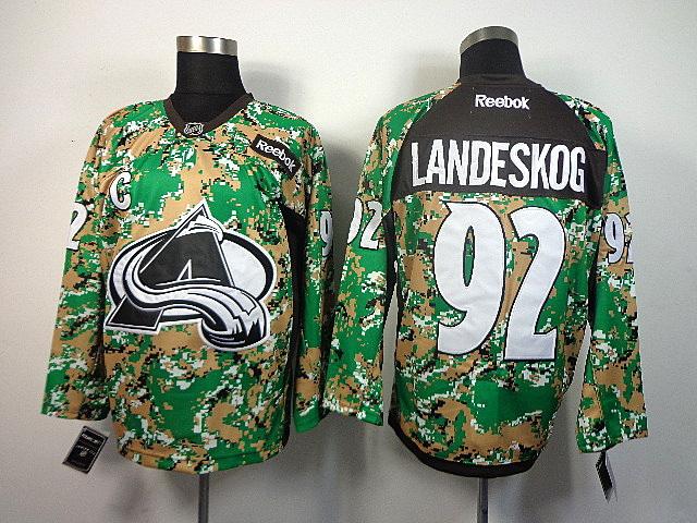 Men's Colorado Avalanche Gabriel Landeskog #92 Green Camo Jersey
